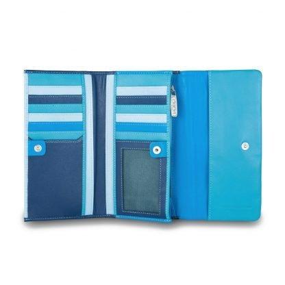 portafoglio donna dudubags in pelle 14 tasche per card portamonete con zip colore blu esterno multicolor interno