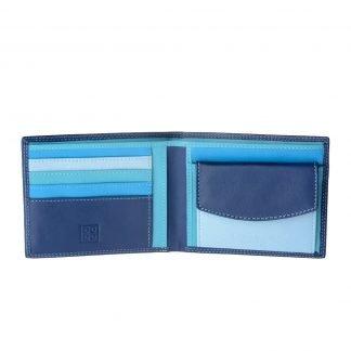 portafoglio uomo pelle colorful dudubags con porta monete 4 tasche per carte di credito 2 per documenti colore esterno blu interno multicolor