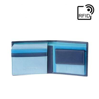 portafoglio uomo piccolo dudubags con rfid porta carte porta monete colore blu esterno multicolor interno