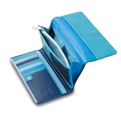 portafoglio donna in pelle dudubags colore blu esterno multicolor interno