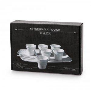Seletti confezione da 6 bicchierini da caffè con vassoio e palettine in porcellana colore bianco