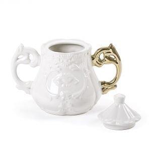 zuccheriera seletti in porcellana con manico dorato