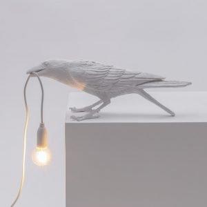 Seletti Lighting Marcantonio bird lamp accesa colore bianco