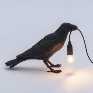 Seletti Lighting Marcantonio bird lamp accesa colore nero