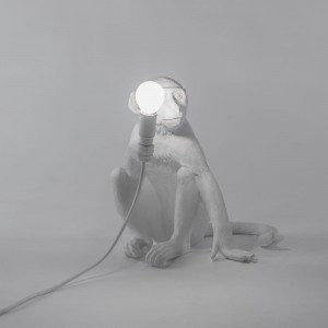 Seletti lampada scimmia seduta resina di colore bianco