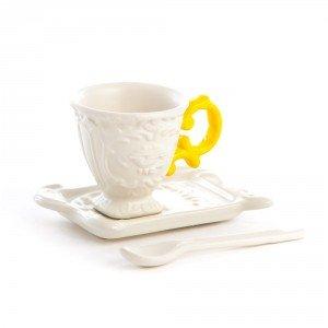 seletti tazzina da caffè linea i wares in porcellana opaca con manico giallo piattino e cucchiaino