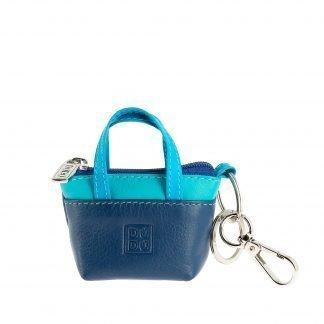 borsetta portachiavi in pelle colorful dudubags di colore blu