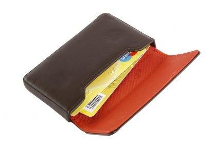 porta biglietti da visita con magnete nava linea smooth colore marrone