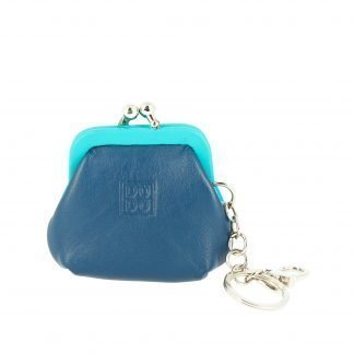 portachiavi e portamonete in pelle colorful dudubags di colore blu