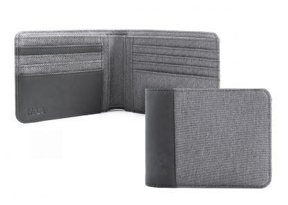 portafoglio nava twin con 8 tasche per carte di credito rfid colore grigio aperto e chiuso