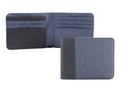 portafoglio nava twin con 8 tasche per carte di credito rfid colore blu aperto e chiuso