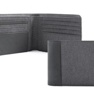 portafoglio nava twin con 8 tasche per carte di credito rfid colore antracite aperto e chiuso