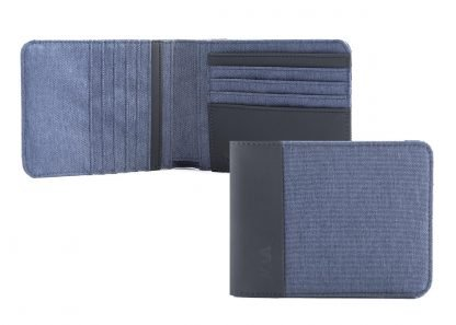 portafoglio nava twin con 12 tasche per carte di credito rfid colore blu aperto e chiuso