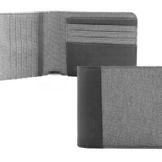 portafoglio nava twin con 12 tasche per carte di credito rfid colore grigio aperto e chiuso