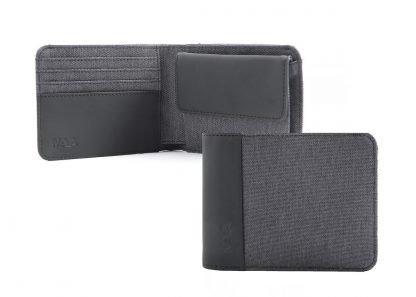 portafoglio nava twin piccolo con 4 tasche per carte di credito portamonete rfid colore antracite aperto e chiuso