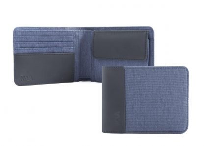 portafoglio nava twin piccolo con 4 tasche per carte di credito portamonete rfid colore blu aperto e chiuso