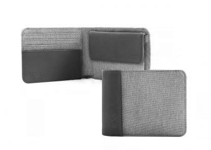 portafoglio nava twin piccolo con 4 tasche per carte di credito portamonete rfid colore grigio aperto e chiuso