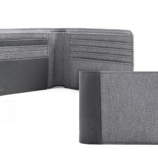 portafoglio nava linea twin con 8 tasche per carte di credito e porta banconote rfid colore grigio aperto e chiuso