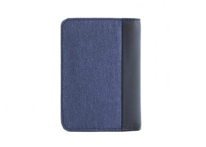 retro del portafoglio in verticale nava linea twin colore blu con 6 tasche per carte di credito portamonete e porta banconote con rfid