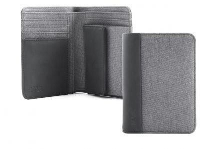 portafoglio in verticale nava linea twin colore grigio con 6 tasche per carte di credito portamonete e porta banconote con rfid aperto e chiuso