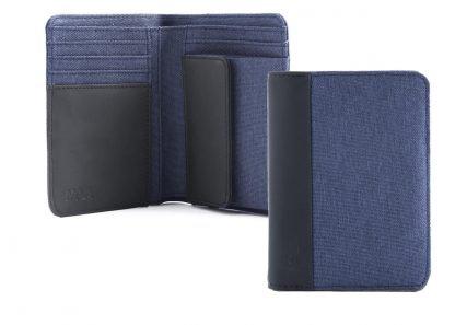 portafoglio in verticale nava linea twin colore blu con 6 tasche per carte di credito portamonete e porta banconote con rfid aperto e chiuso
