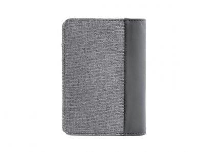 retro del portafoglio in verticale nava linea twin colore grigio con 6 tasche per carte di credito portamonete e porta banconote con rfid