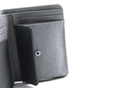 portafoglio in verticale nava linea twin colore grigio con 6 tasche per carte di credito portamonete e porta banconote con rfid