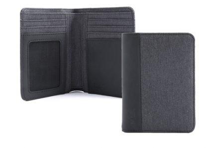portafoglio in verticale nava linea twin con 7 tasche per carte di credito ed rfid colore antracite aperto e chiuso