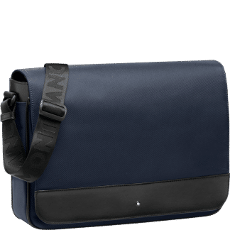 Messanger Montblanc Night Fly in tessuto a costine blu e pelle nera
