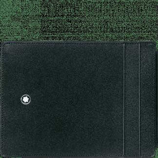 porta documenti Montblanc Meisterstück in pelle con 4 tasche per carte di credito 2 portadocumenti ed un portadocumenti estraibile colore nero parte anteriore con emblema Montblanc