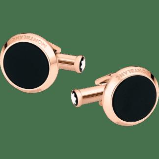 Gemelli Montblanc Meisterstück forma rotonda in acciaio pregiato con finitura PVD color oro rosso e inserto in onice