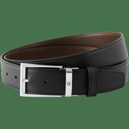 Cintura Montblanc in pelle saffiano double face colore nero e marrone con ardiglione platinato lucido