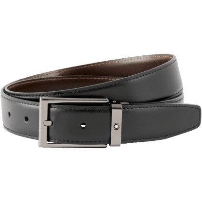 Cintura Montblanc in pelle reversibile colore nero/marrone fibbia ad ardiglione rettangolare finitura rutenio lucido
