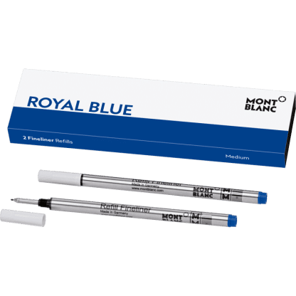 confezione da 2 refill per penna roller e fineliner Montblanc tratto medium colore royal blue