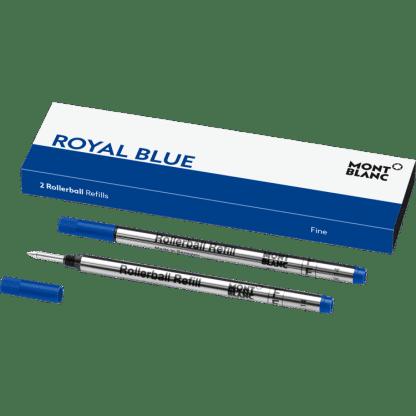 confezione da 2 refill per penna roller Montblanc tratto fine colore royal blue