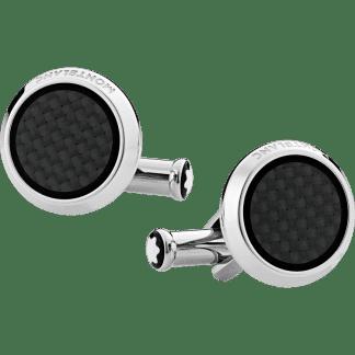 Gemelli Montblanc Extreme 2.0 in acciaio pregiato con inserto lavorato effetto carbonio in confezione