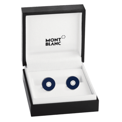 gemelli Montblanc blu con emblema Montblanc in confezione