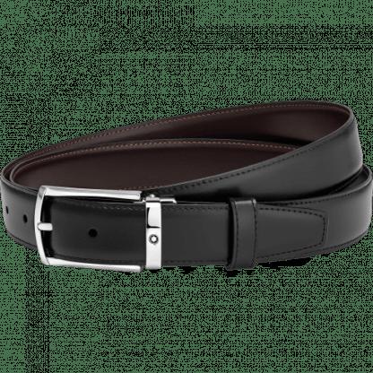 Cintura Montblanc in pelle reversibile colore nero/marrone fibbia ad ardiglione rettangolare in acciaio pregiato con finitura palladio lucido con emblema Montblanc