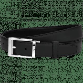 Cintura Montblanc in pelle colore nero fibia ad ardiglione con finitura platino