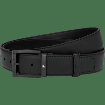 Cintura Montblanc in pelle colore nero con ardiglione nero opaco