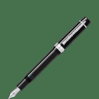 Stilografica Montblanc Gershwin special edition donation pen in pregiata resina nera finiture platino sulla clip 'è raffigurato un clarinetto