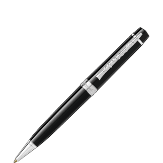 Penna a sfera Montblanc Gershwin special edition donation pen in pregiata resina nera finiture platino sulla clip 'è raffigurato un clarinetto
