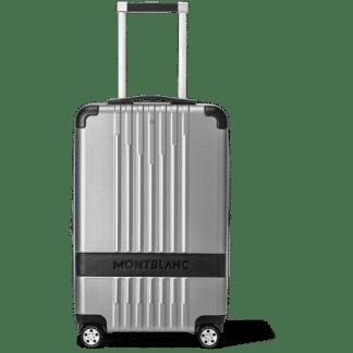 trolley Montblanc My#4810 slim in policarbonato colore silver con quattro ruote doppie piroettanti inserti in pelle nera e targhetta in pelle per personalizzazione chiusura Tsa con combinazione