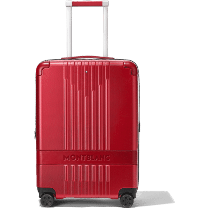 trolley Montblanc my#4810 red frontale con inserto in pelle logato Montblanc