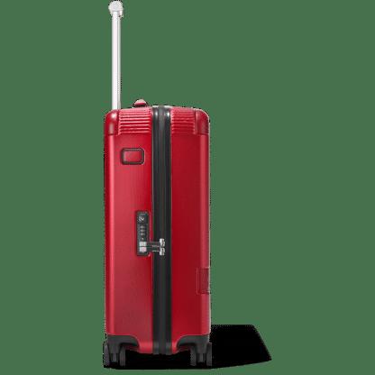 trolley Montblanc my#4810 red particolare della chiusura e placchetta di personalizzazione in pelle