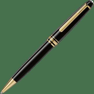 Penna a sfera Montblanc Meisterstück Classique in pregiata resina nera con finiture placcate in oro