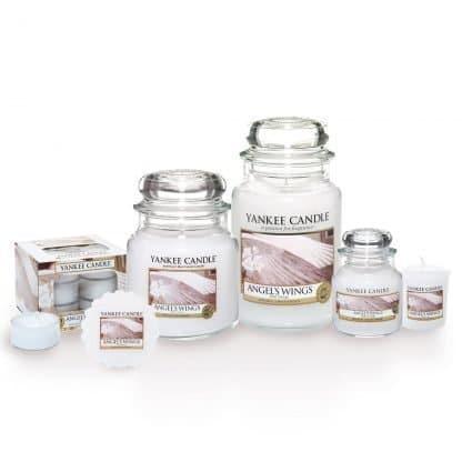 Candele profumate yankee candle fragranza Angel's wings disponibile in più formati grande media piccola per auto tea light sampler e tart