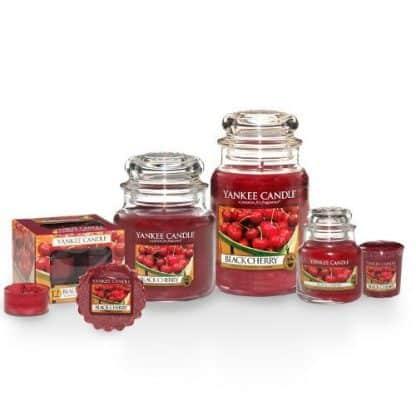 Candele profumate yankee candle fragranza Black Cherry disponibile in più formati grande media piccola per auto tea light sampler e tart