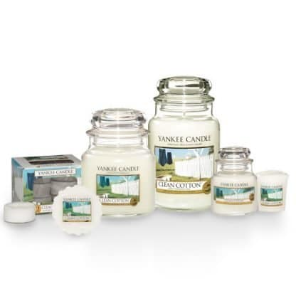 Candele-profumate-yankee-candle-fragranza-Clean-Cotton-disponibile-in-più-formati-grande-media-piccola-per-auto-tea-light-sampler-e-tart