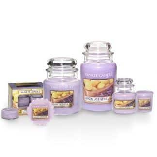 Candele profumate yankee candle fragranza Lemon Lavender disponibile in più formati grande media piccola per auto tea light sampler e tart